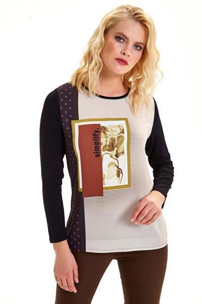 Önü Dokuma Garnili Uzun Kol Taşlı Bluz 201-1501