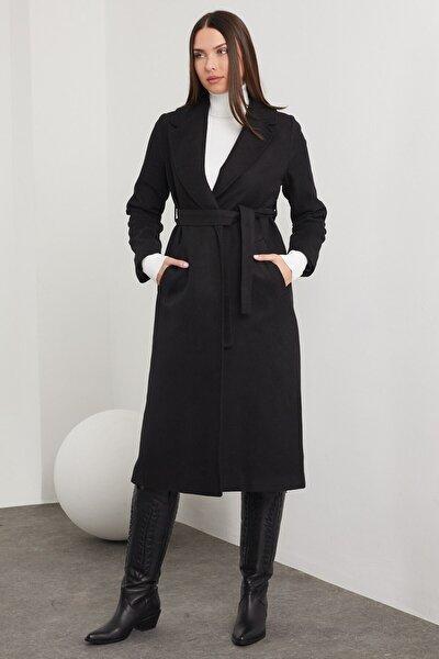 Kaşe Kemerli Cepli Uzun Siyah Palto