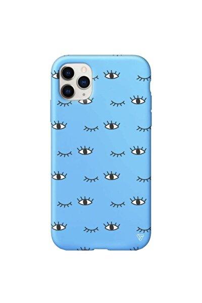 Iphone 11 Pro Max Mavi Renkli Silikon Kırpılan Göz Telefon Kılıfı