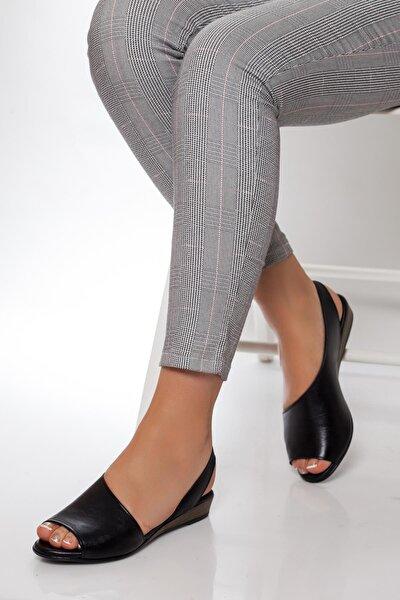 Hakiki Deri Siyah Kadın Deri Sandalet Dp15-0051