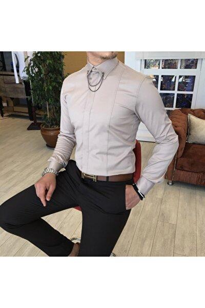 Italyan Kesim Erkek Saten Bej Zincirli Gömlek T4095
