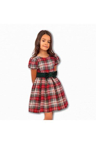 Abel&lula Kız Çocuk Tartan Kırmızı Elbise