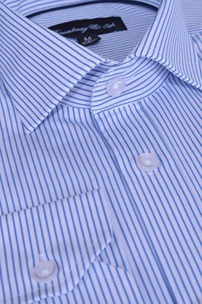 Broadway Uzun Kollu Mavi Çizgili Erkek Gömlek