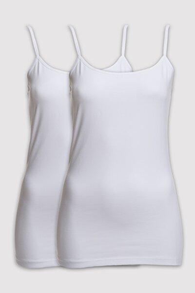 Kadın Beyaz 1204 2li Paket Askılı Atlet