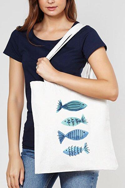 Beyaz Mavi Balıklar Ham Bez Çanta