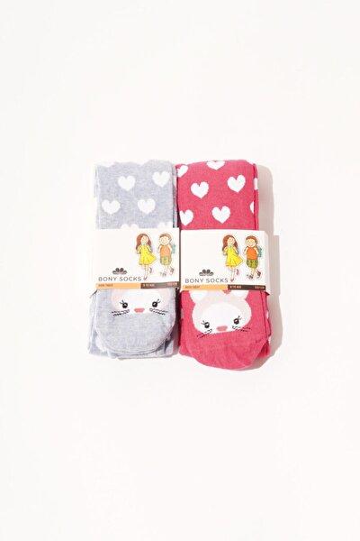 2 Li Paket Kız Çocuk Desenli Külotlu Çorap - Pembe/mavi
