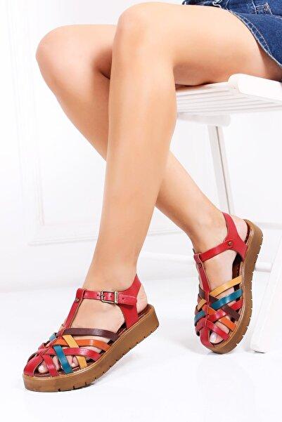 Hakiki Deri Kırmızı Multi-2 Kadın Deri Sandalet Dp-0097