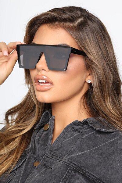 Bonas Üstü Düz Kare Büyük Güneş Gözlüğü Aynalı Camlı Mat Siyah