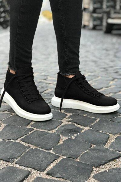 Yüksek Taban Siyah Beyaz Erkek Ayakkabı