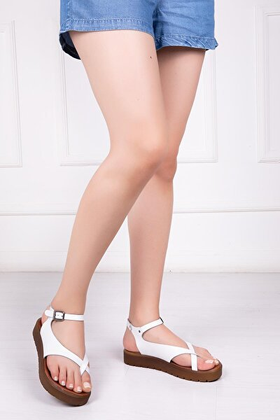 Hakiki Deri Beyaz Kadın Deri Sandalet Dp-1081