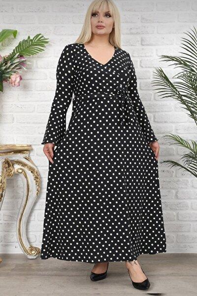 Kadın Siyah Puantiyeli Desen Kruvaze Yaka Volan Kol Elbise