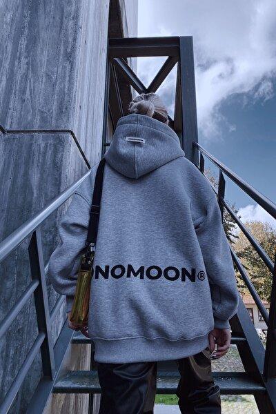 Gri Melanj Kapüşonlu Oversize Sweatshirt