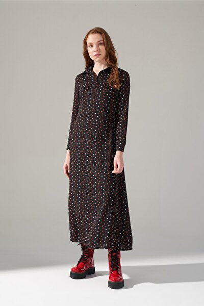 Desenli Gömlek Yaka Elbise (Siyah)