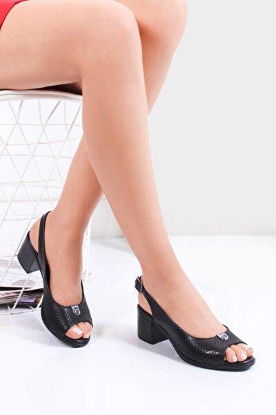 Hakiki Deri Siyah Kadın Topuklu Deri Sandalet Dp26-4612