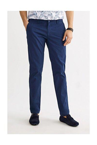 Erkek Lacivert Yandan Cepli Armürlü Slim Fit Pantolon A01s3075