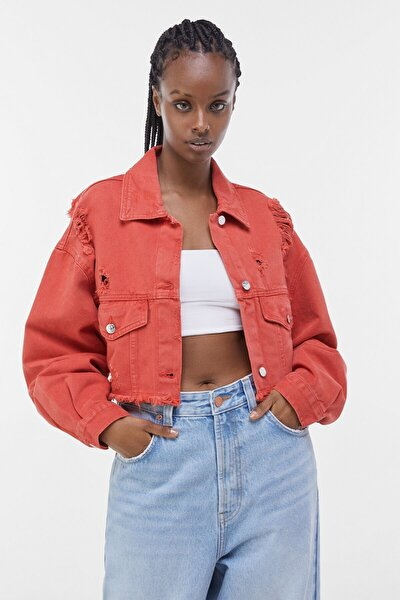 Kadın Kırmızı Acid Wash Distressed Ceket 01308019