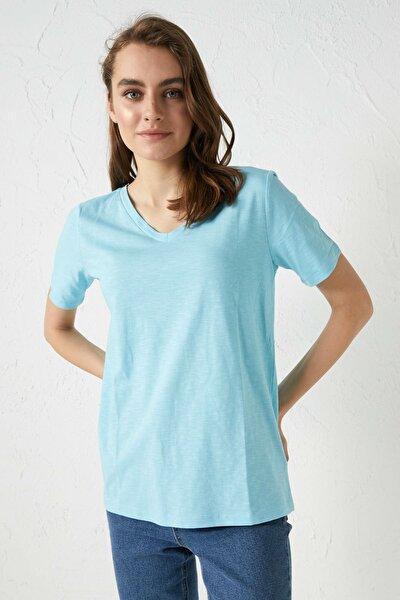 Kadın Mavi Classic Tişört