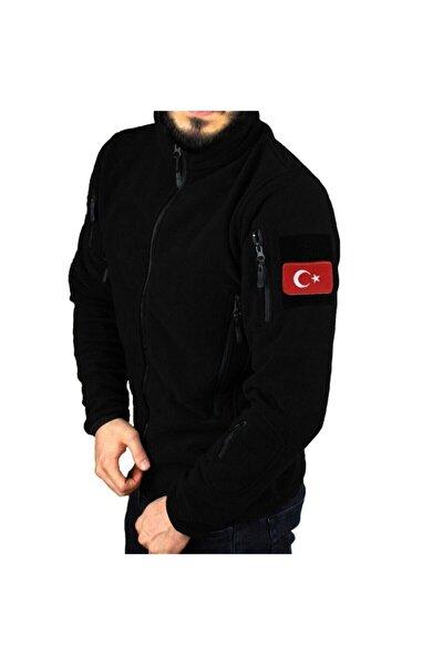 Askeri Tip Taktik Polar Mont Siyah Renk Ve Türk Bayrağı Peç