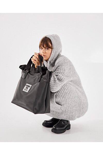 Kadın Siyah Patlı Shopper Omuz Çantası