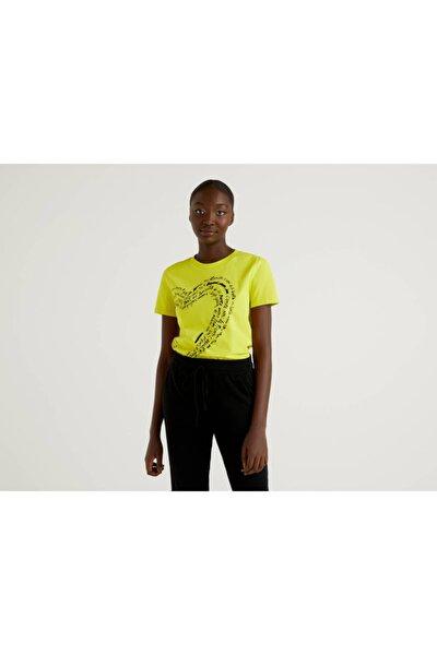 Kadın Sarı Baskılı Tshirt