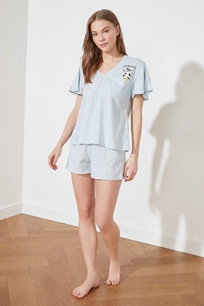 Açık Mavi Baskılı Örme Pijama Takımı THMSS21PT0139