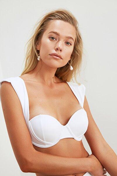 Beyaz Kalın Askılı Kaplı Bikini Üstü TBESS21BU0319