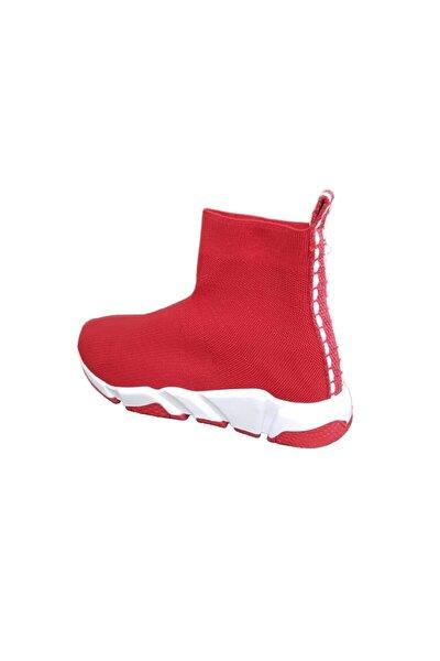 Kadın Kırmızı Filito Çoraplı Yüksek Taban Sneakers Ayakkabı