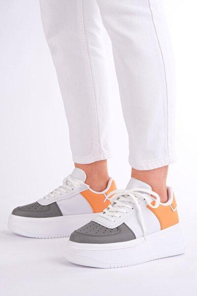 Kadın Gri Sneaker Dolgu Topuk Spor Ayakkabı Cekva