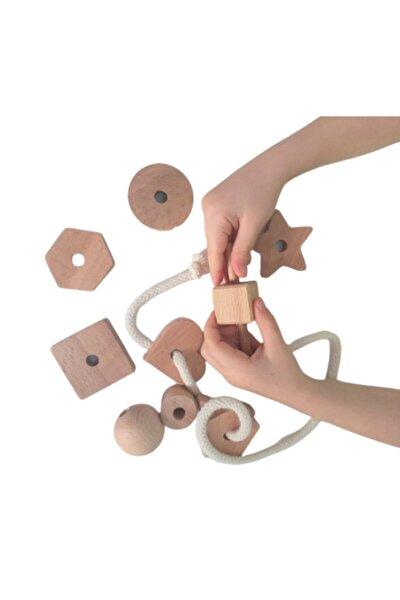 Montessori Giz Torbası Ve Ip Geçir Geometrik Şekiller Ikili Oyunu - Renksiz