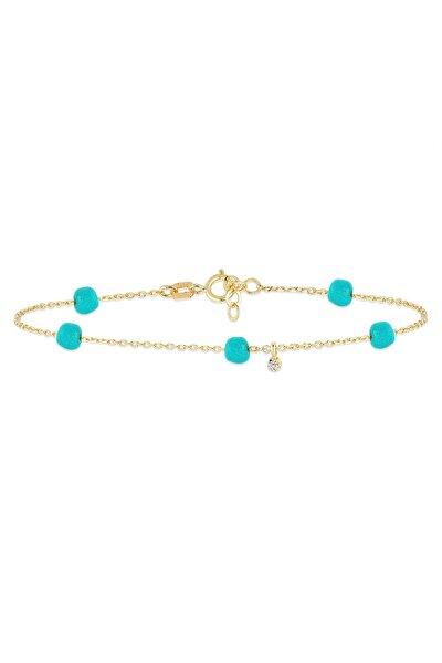 Kadın 14 Ayar Altın Pırlantalı Mavi Boncuk Bileklik GLN400036