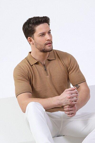 Erkek Camel Polo Yaka Fermuarlı Pamuk Triko T-shirt