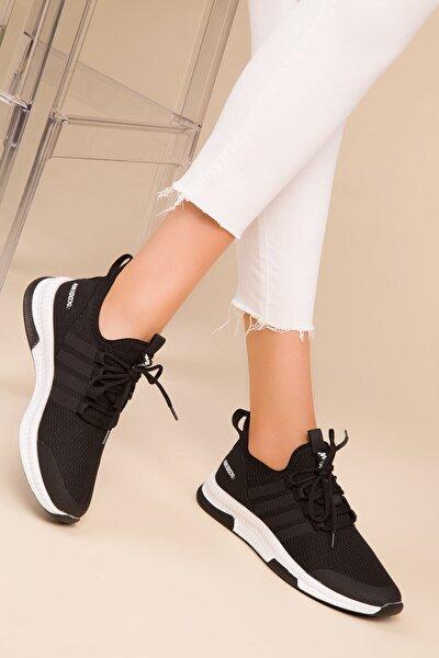 Siyah Kadın Hafif Günlük Spor Yürüyüş Sneaker Ayakkabı