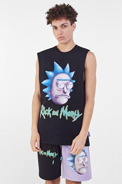 Erkek Siyah Rick And Morty Worker T-shirt