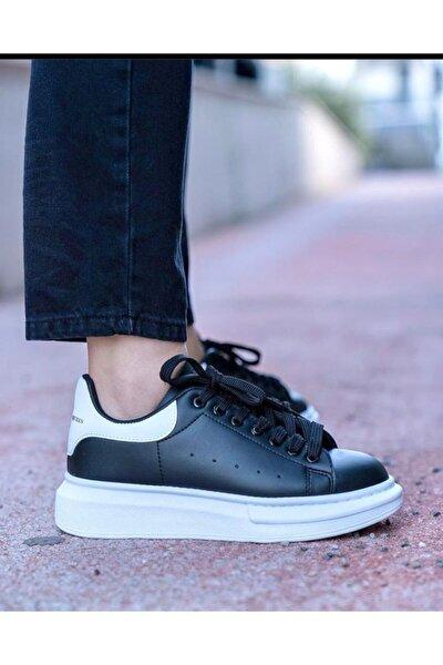Unisex Siyah Beyaz Kalın Taban Spor Ayakkabı