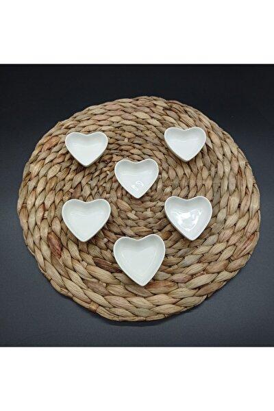 6-cm 6'lı Porselen Kalp Lokumluk
