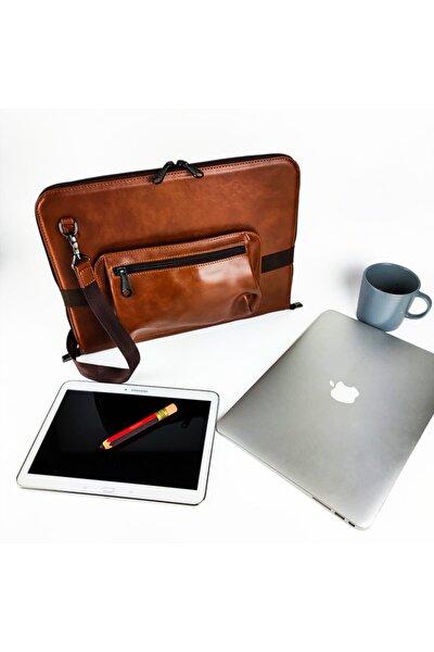 Askılı 13 Inç Deri Macbook Organizer Tablet Ve Laptop Kılıfı Takılıp Mouse Ve Şarj Aleti Çantası