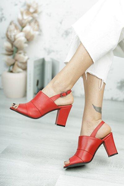 Kadın Kırmızı Iç Dış Deri Klasik Topuklu Ayakkabı