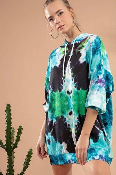 Kadın Batik Desenli Kapşonlu Sweatshirt Elbise P20w-4125-6