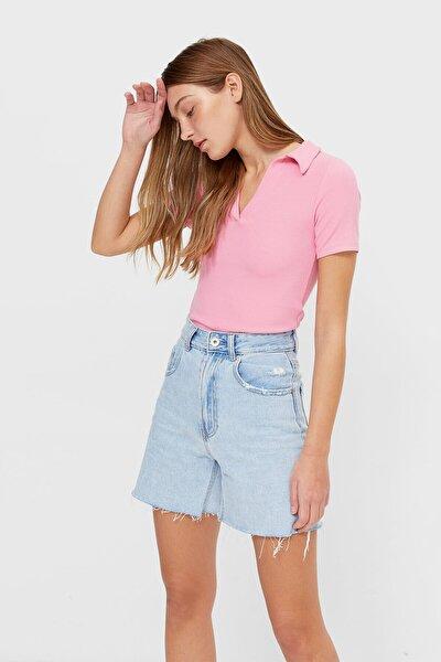Kadın Pembe Çizgili Polo T-Shirt