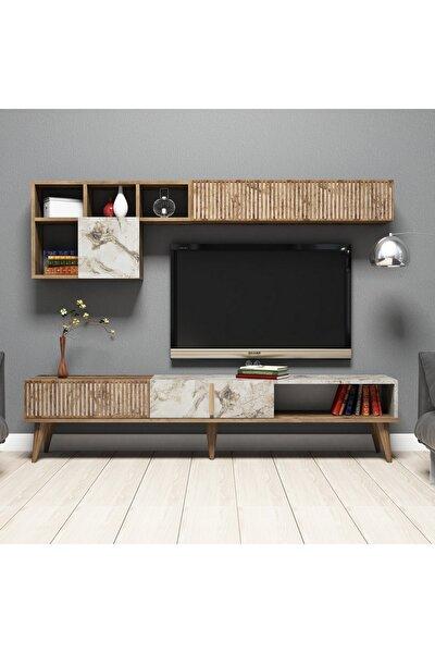 Variant Milan Tv Ünitesi - Ceviz / Beyaz Mermer