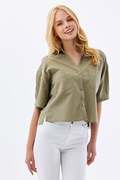 Kadın Cep Detaylı Basic Kısa Kollu Gömlek P21s201-2159