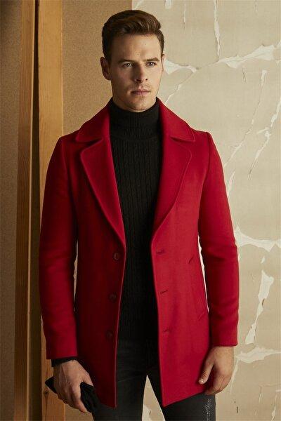 Plt 063 Slim Fit Kırmızı Klasik Palto