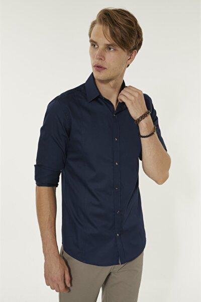 Erkek Lacivert Düz Klasik Yaka Slim Fit Gömlek B002217
