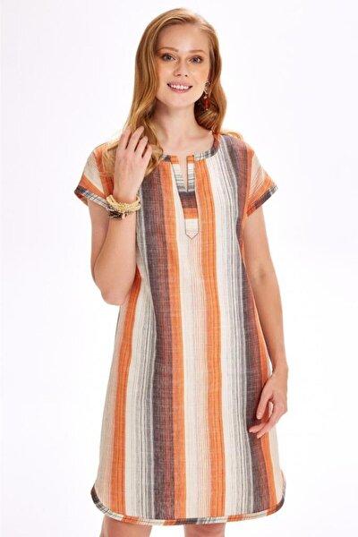 Düşük Kollu Çizgili Keten Elbise 020-4038