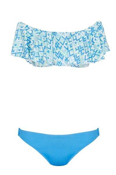 Volanlı Düşük Omuzlu Mavi Bikini Takımı
