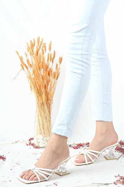 Şeffaf Kadeh Topuklu Ince Bantlı Beyaz Kadın Terlik - Troy