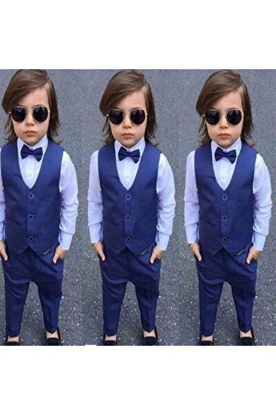 Indigo Yelekli Erkek Çocuk 3 Lü Takım