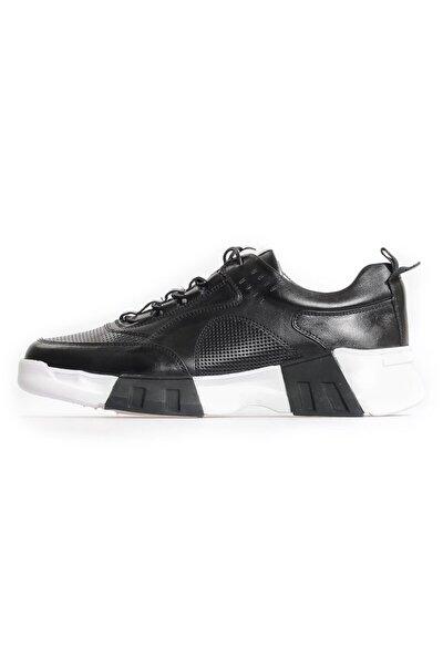 Siyah Deri Taban Detaylı Sneakers