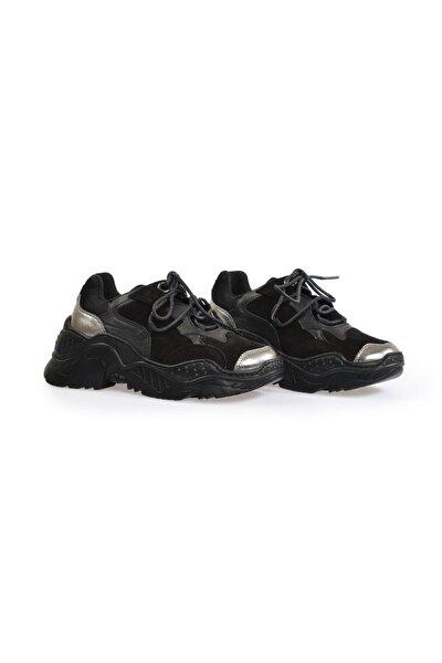 Siyah Yüksek Tabanlı Kadın Spor Ayakkabı