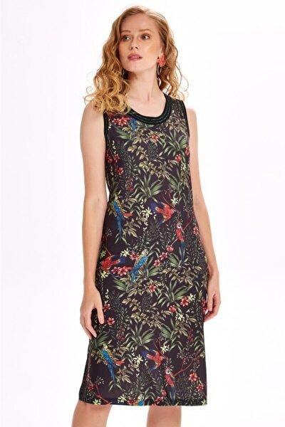 Yakası Ve Kolları Simli Bantlı Desenli Elbise 020-2535